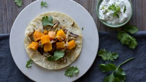 Meatless Monday: Butternut Squash Tacos with a Cilantro + Green Onion Yogurt